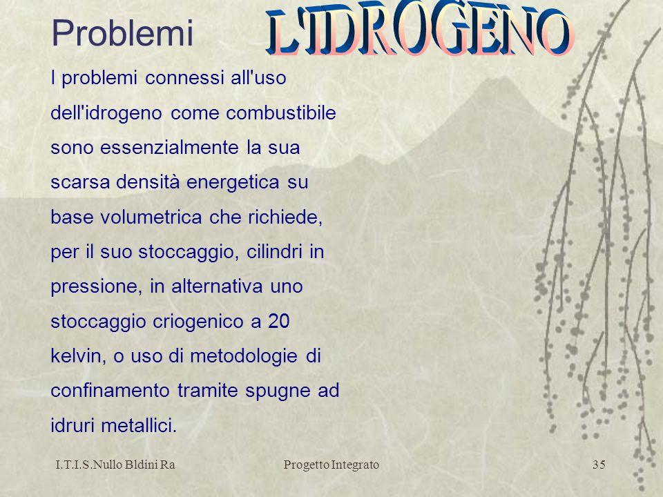 I.T.I.S.Nullo Bldini RaProgetto Integrato35 Problemi I problemi connessi all'uso dell'idrogeno come combustibile sono essenzialmente la sua scarsa den