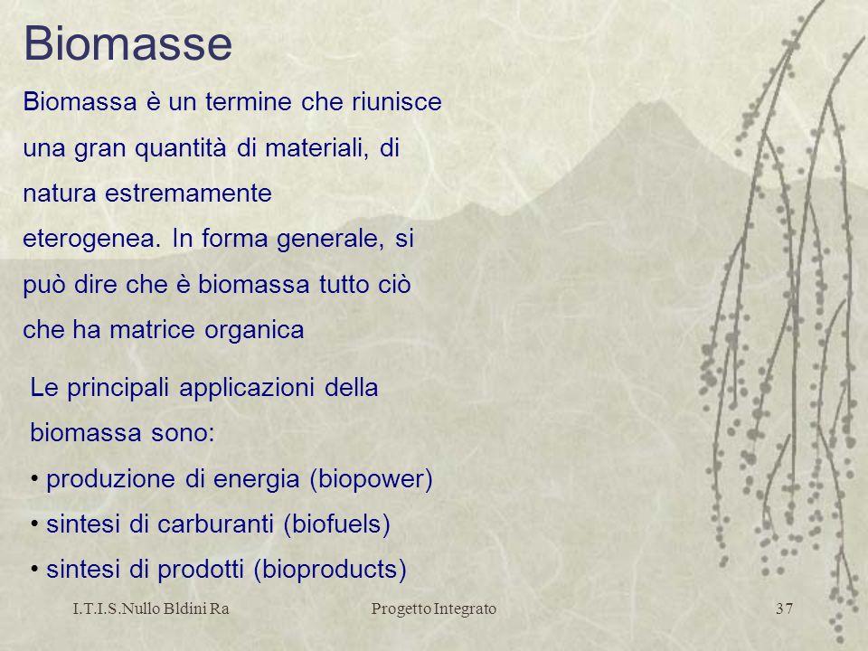 I.T.I.S.Nullo Bldini RaProgetto Integrato37 Biomasse Biomassa è un termine che riunisce una gran quantità di materiali, di natura estremamente eteroge