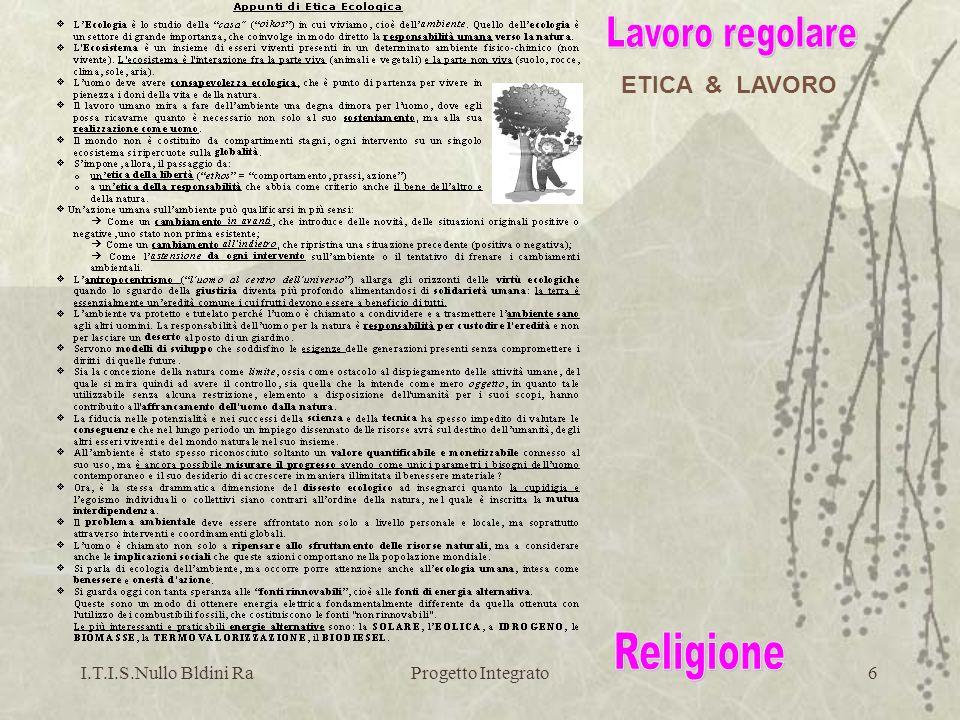 I.T.I.S.Nullo Bldini RaProgetto Integrato6 ETICA & LAVORO