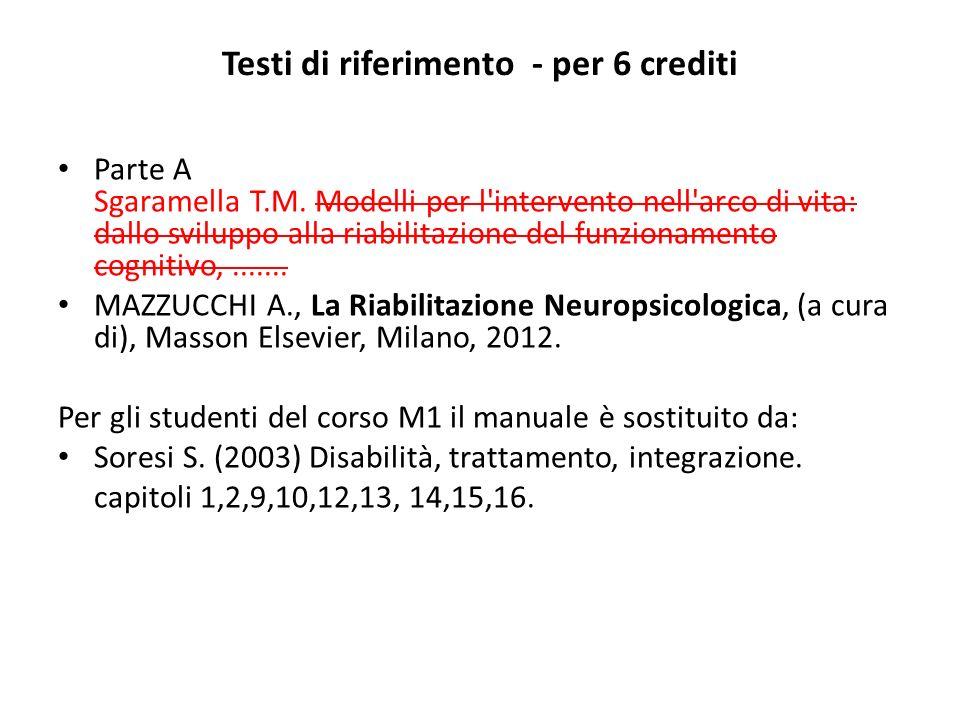 Testi di riferimento Parte A MAZZUCCHI A., La Riabilitazione Neuropsicologica, (a cura di), Masson Elsevier, Milano, 2012.