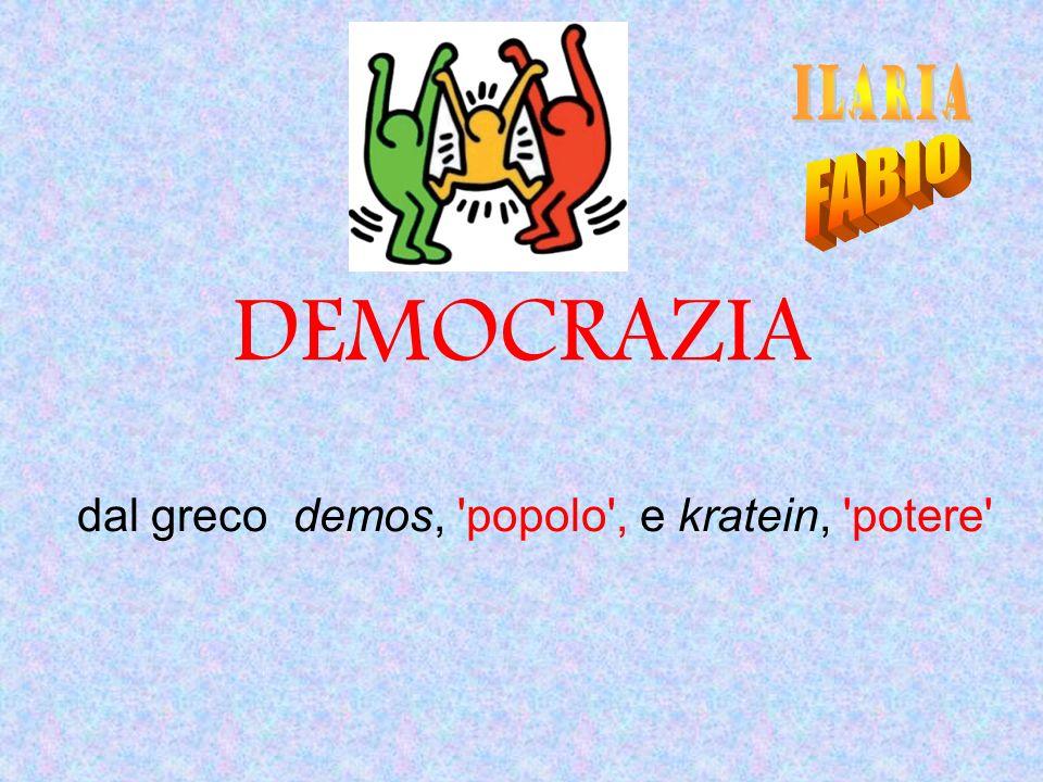 DEMOCRAZIA dal greco demos, 'popolo', e kratein, 'potere'