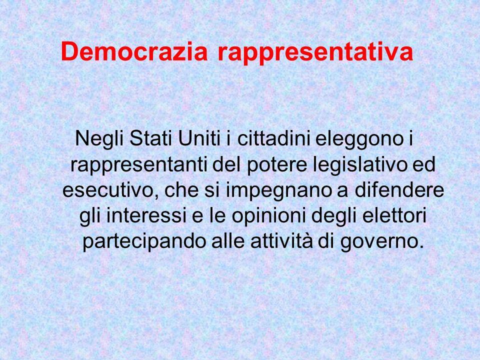 Democrazia rappresentativa Negli Stati Uniti i cittadini eleggono i rappresentanti del potere legislativo ed esecutivo, che si impegnano a difendere g