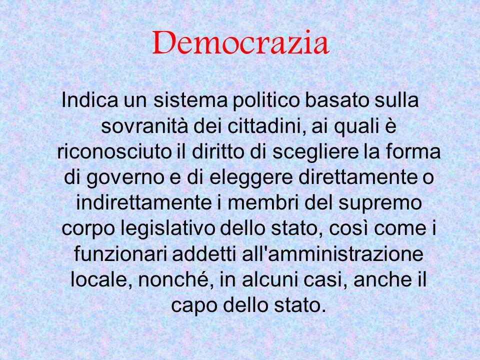 Democrazia Indica un sistema politico basato sulla sovranità dei cittadini, ai quali è riconosciuto il diritto di scegliere la forma di governo e di e