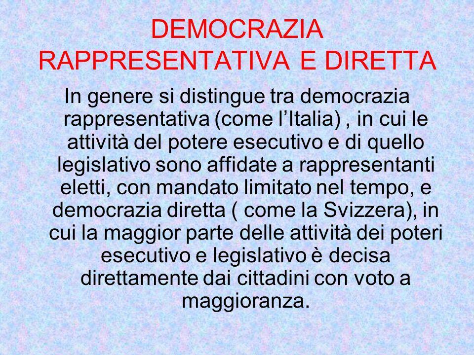 DEMOCRAZIA RAPPRESENTATIVA E DIRETTA In genere si distingue tra democrazia rappresentativa (come lItalia), in cui le attività del potere esecutivo e d