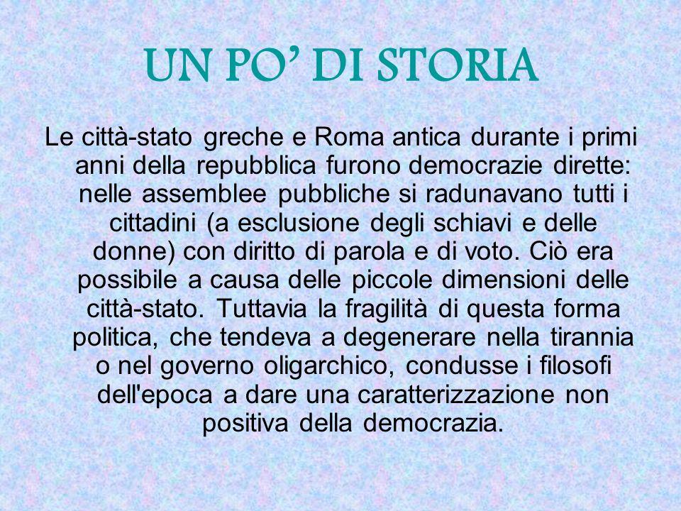 Le città-stato greche e Roma antica durante i primi anni della repubblica furono democrazie dirette: nelle assemblee pubbliche si radunavano tutti i cittadini (a esclusione degli schiavi e delle donne) con diritto di parola e di voto.