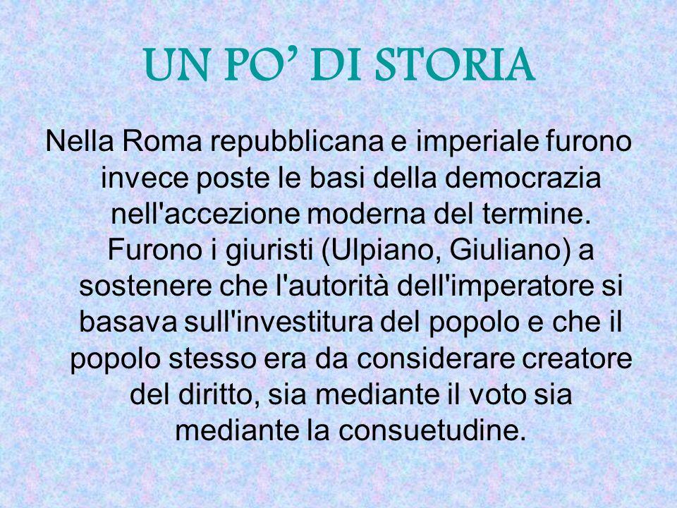 Nella Roma repubblicana e imperiale furono invece poste le basi della democrazia nell'accezione moderna del termine. Furono i giuristi (Ulpiano, Giuli