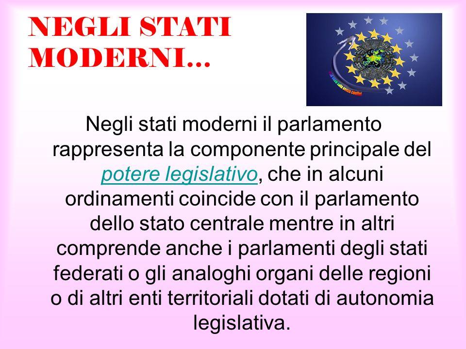 NEGLI STATI MODERNI… Negli stati moderni il parlamento rappresenta la componente principale del potere legislativo, che in alcuni ordinamenti coincide