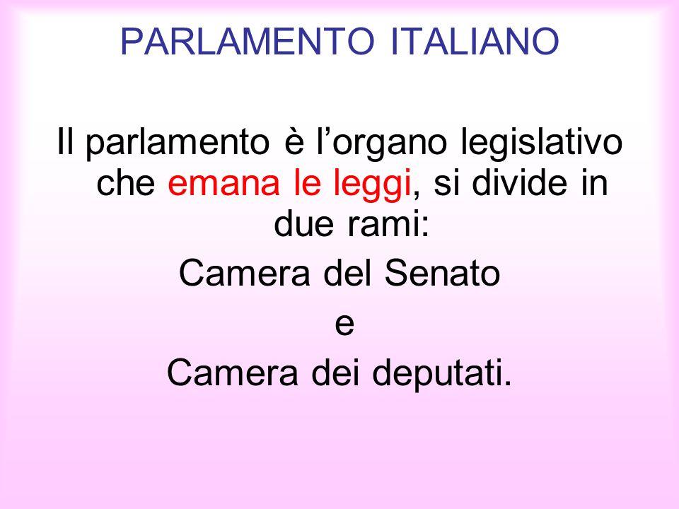 PARLAMENTO ITALIANO Il parlamento è lorgano legislativo che emana le leggi, si divide in due rami: Camera del Senato e Camera dei deputati.