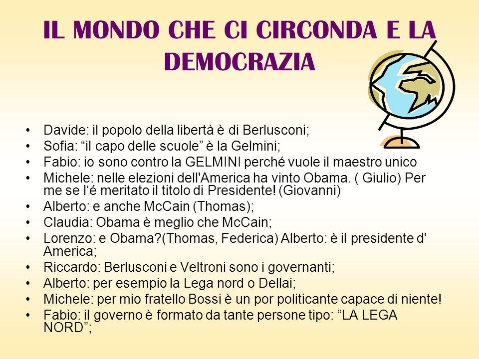 Davide: il popolo della libertà è di Berlusconi; Sofia: il capo delle scuole è la Gelmini; Fabio: io sono contro la GELMINI perché vuole il maestro unico Michele: nelle elezioni dell America ha vinto Obama.