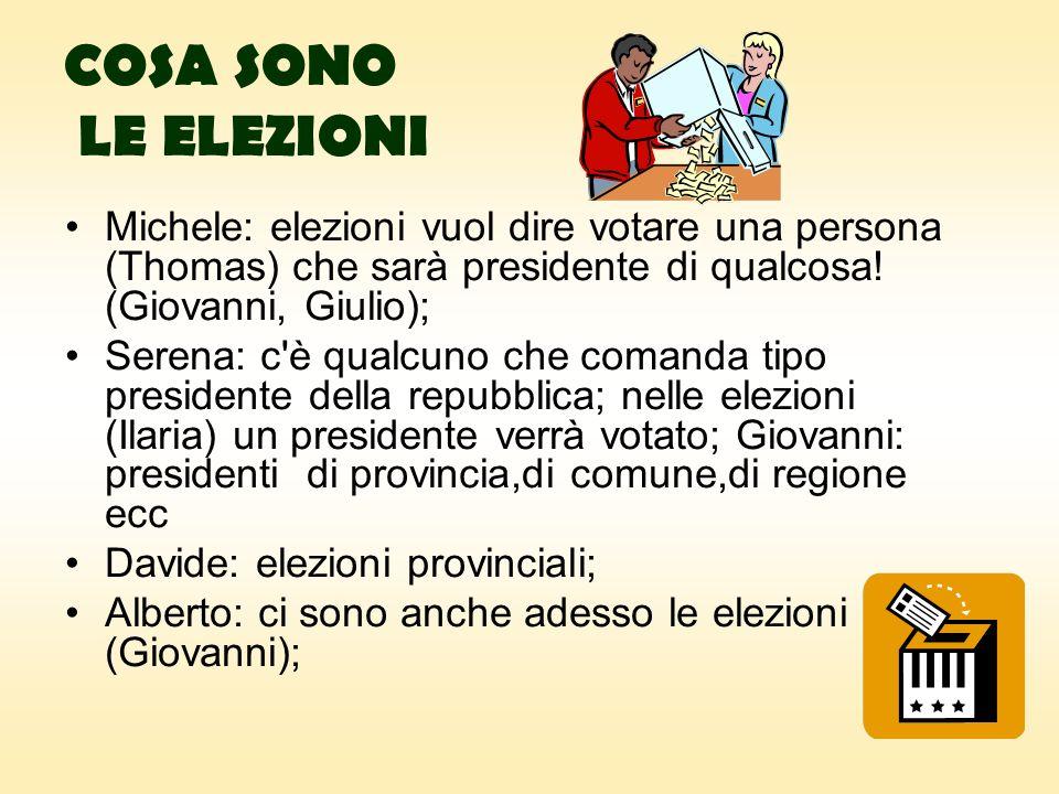 COSA SONO LE ELEZIONI Michele: elezioni vuol dire votare una persona (Thomas) che sarà presidente di qualcosa.