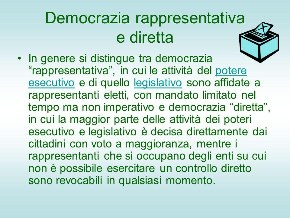Democrazia rappresentativa e diretta In genere si distingue tra democrazia rappresentativa, in cui le attività del potere esecutivo e di quello legisl