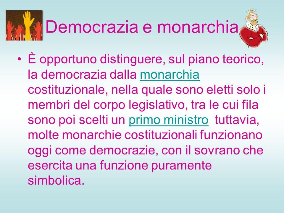 Democrazia e monarchia È opportuno distinguere, sul piano teorico, la democrazia dalla monarchia costituzionale, nella quale sono eletti solo i membri