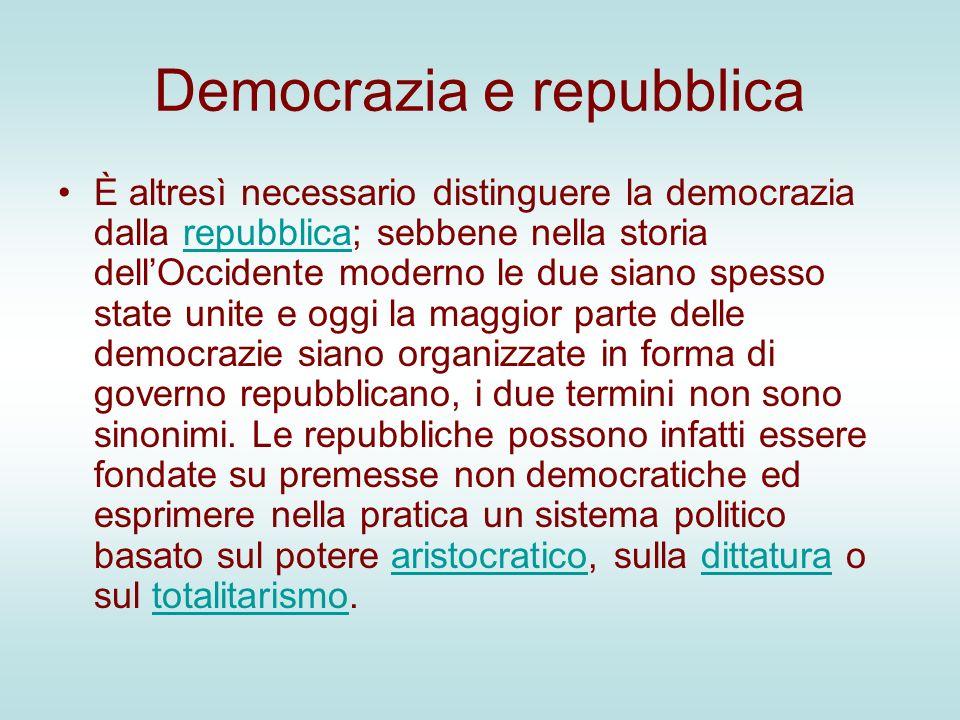 Democrazia e repubblica È altresì necessario distinguere la democrazia dalla repubblica; sebbene nella storia dellOccidente moderno le due siano spess