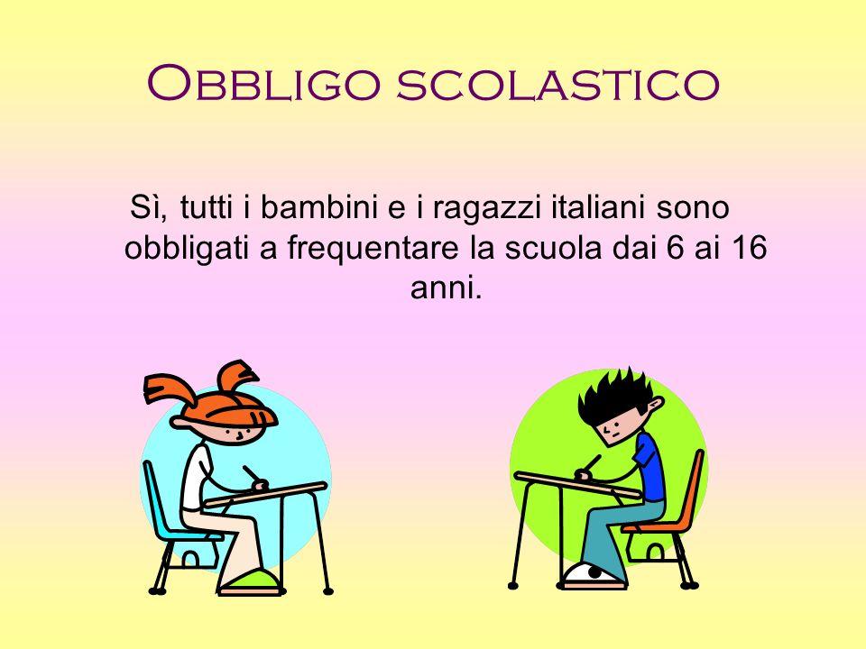Obbligo scolastico Sì, tutti i bambini e i ragazzi italiani sono obbligati a frequentare la scuola dai 6 ai 16 anni.