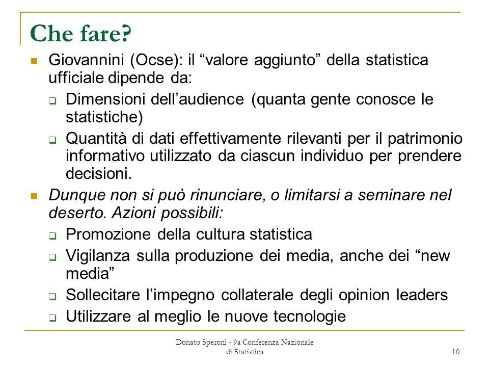 Donato Speroni - 9a Conferenza Nazionale di Statistica 10 Che fare? Giovannini (Ocse): il valore aggiunto della statistica ufficiale dipende da: Dimen