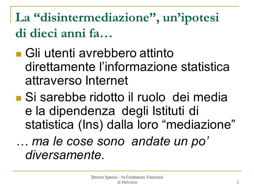 Donato Speroni - 9a Conferenza Nazionale di Statistica 2 La disintermediazione, unipotesi di dieci anni fa… Gli utenti avrebbero attinto direttamente