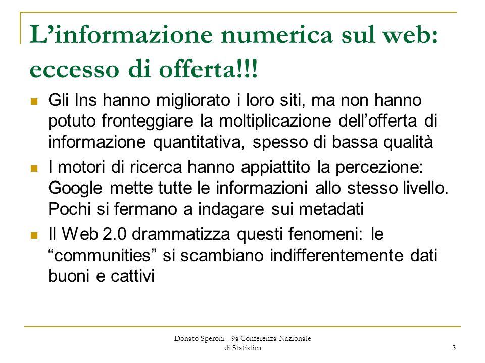 Donato Speroni - 9a Conferenza Nazionale di Statistica 3 Linformazione numerica sul web: eccesso di offerta!!.
