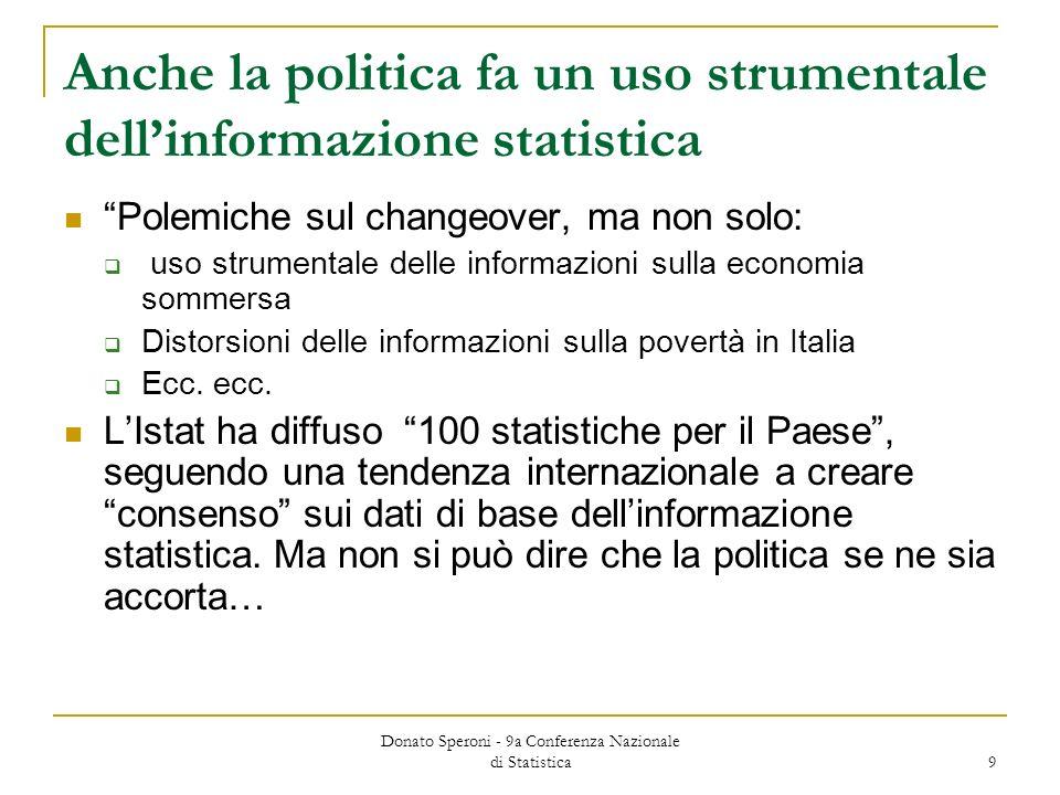 Donato Speroni - 9a Conferenza Nazionale di Statistica 9 Anche la politica fa un uso strumentale dellinformazione statistica Polemiche sul changeover,