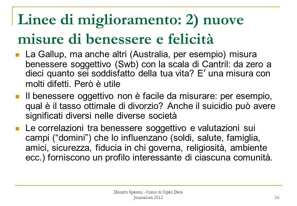 Donato Speroni - Corso di Open Data Journalism 2012 16 Linee di miglioramento: 2) nuove misure di benessere e felicità La Gallup, ma anche altri (Aust