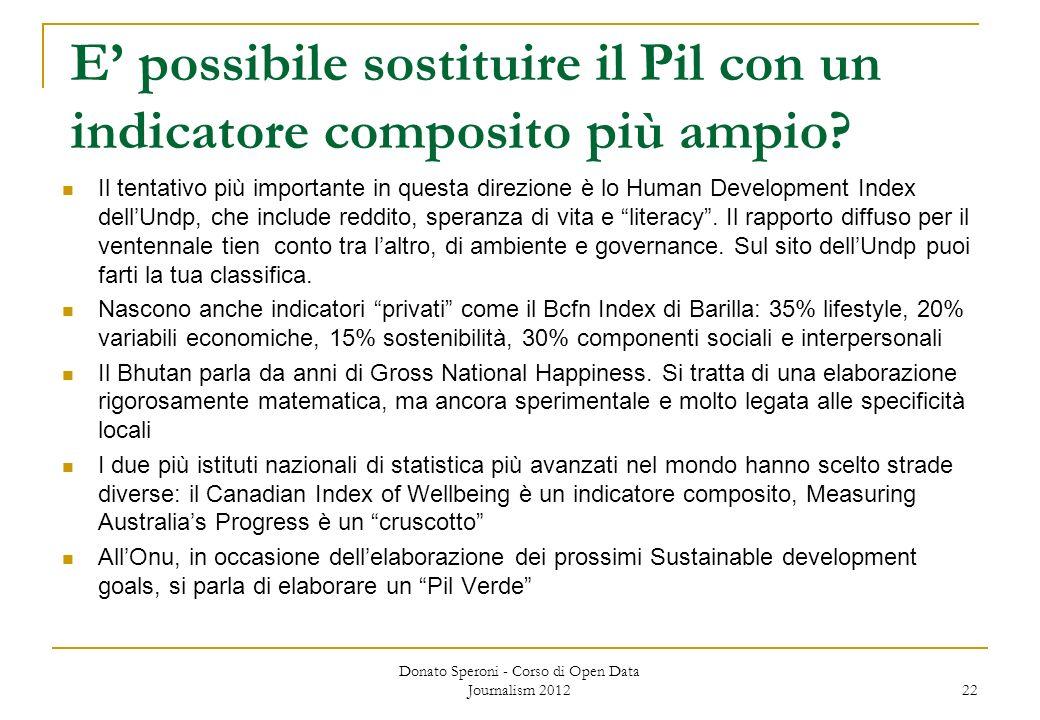 E possibile sostituire il Pil con un indicatore composito più ampio? Il tentativo più importante in questa direzione è lo Human Development Index dell