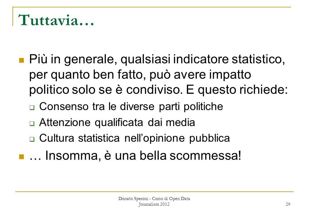 Tuttavia… Più in generale, qualsiasi indicatore statistico, per quanto ben fatto, può avere impatto politico solo se è condiviso. E questo richiede: C
