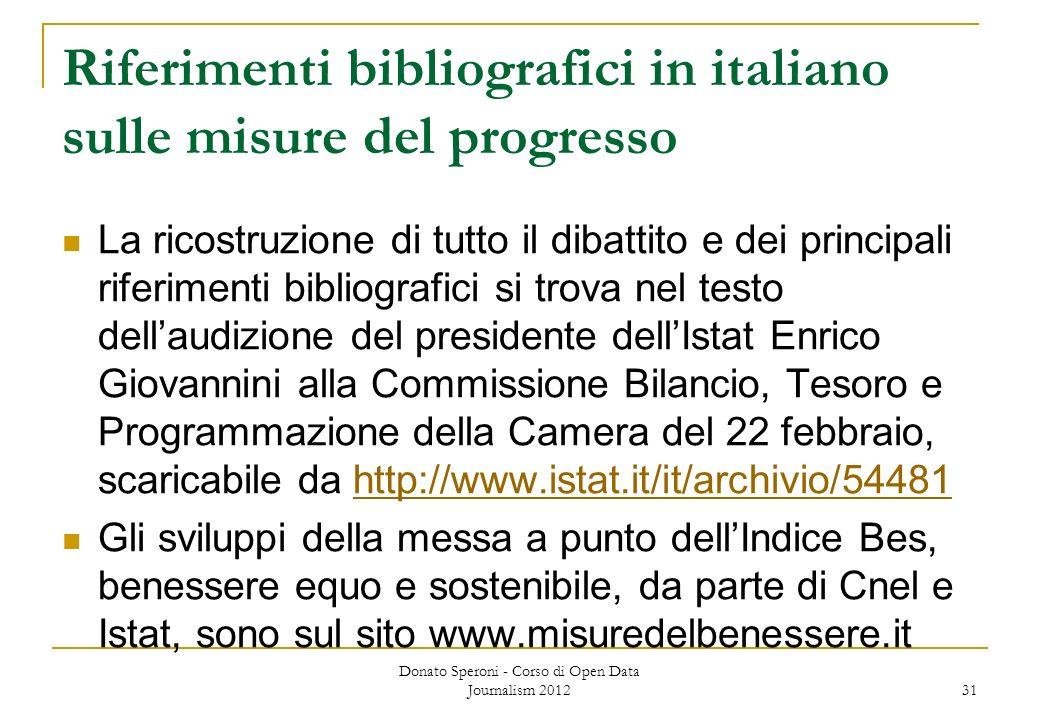 Riferimenti bibliografici in italiano sulle misure del progresso La ricostruzione di tutto il dibattito e dei principali riferimenti bibliografici si