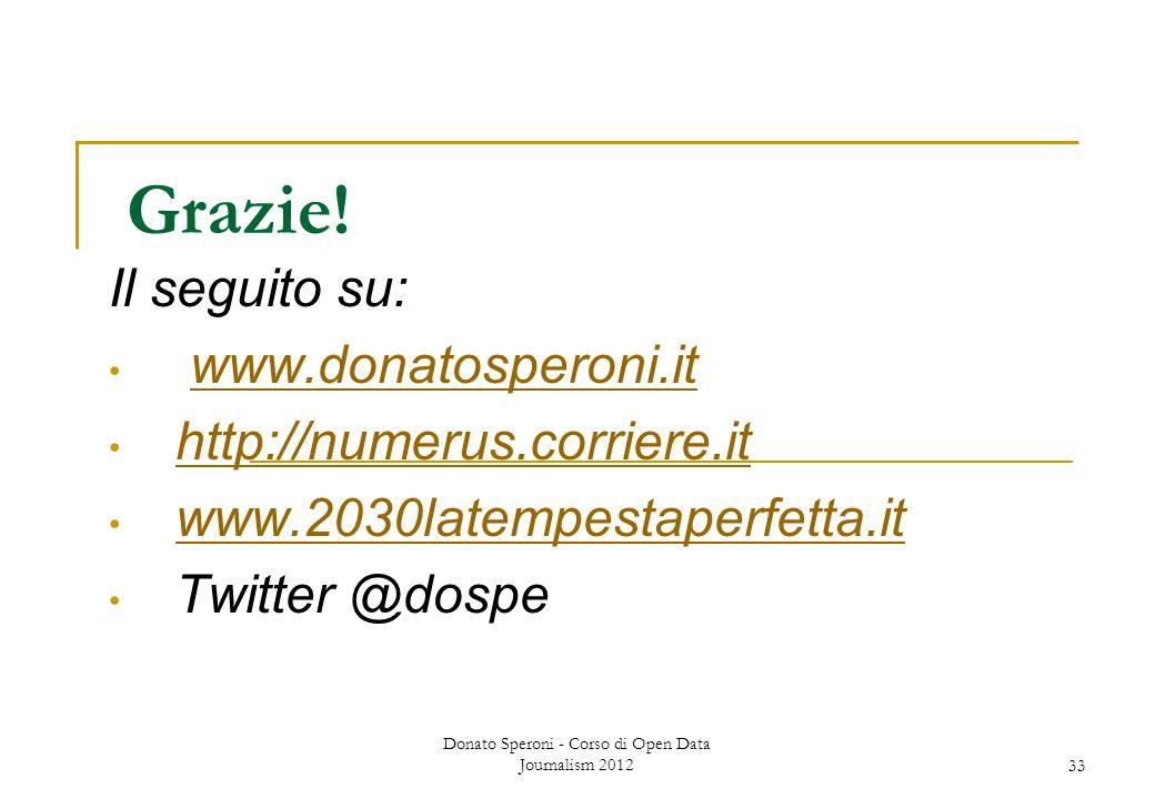 Grazie! Il seguito su: www.donatosperoni.it http://numerus.corriere.it www.2030latempestaperfetta.it Twitter @dospe Donato Speroni - Corso di Open Dat