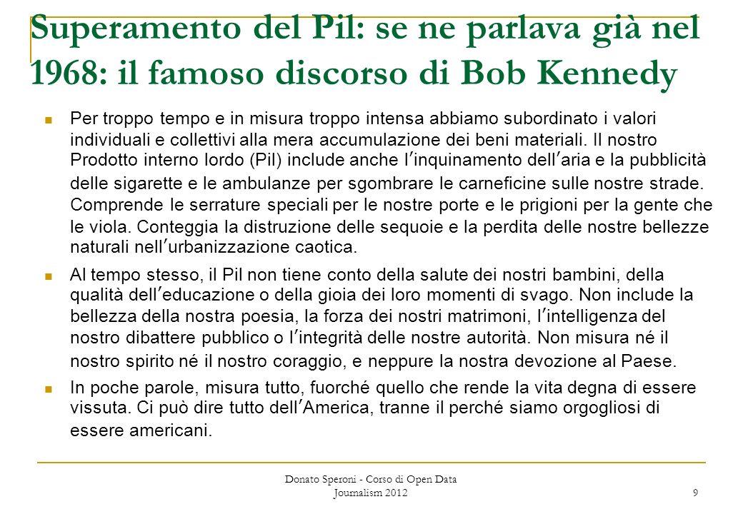 Superamento del Pil: se ne parlava già nel 1968: il famoso discorso di Bob Kennedy Per troppo tempo e in misura troppo intensa abbiamo subordinato i v