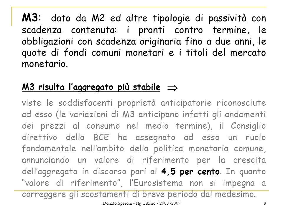 Donato Speroni - Ifg Urbino - 2008 -2009 20 In pratica: Aumentare il tasso di riferimento equivale a schiacciare il freno delleconomia.