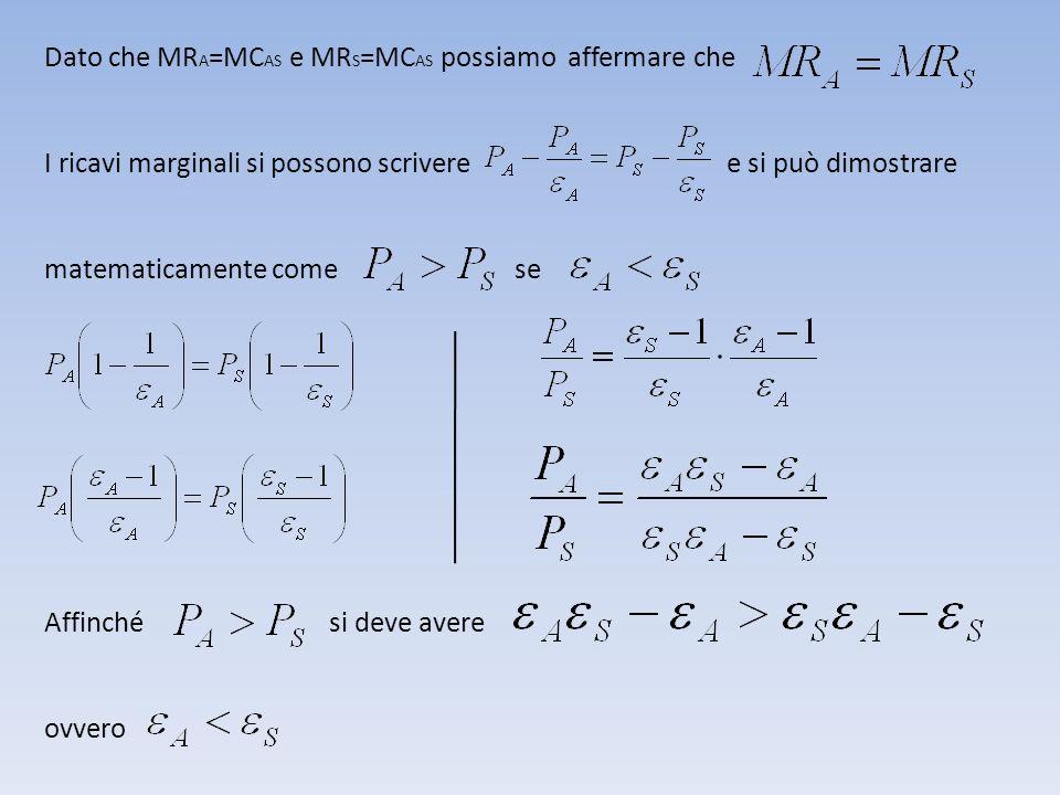 Dato che MR A =MC AS e MR S =MC AS possiamo affermare che I ricavi marginali si possono scrivere e si può dimostrare matematicamente come se Affinché