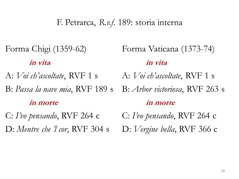 F. Petrarca, R.v.f. 189: storia interna Forma Chigi (1359-62) in vita A: Voi chascoltate, RVF 1 s B: Passa la nave mia, RVF 189 s in morte C: Ivo pens