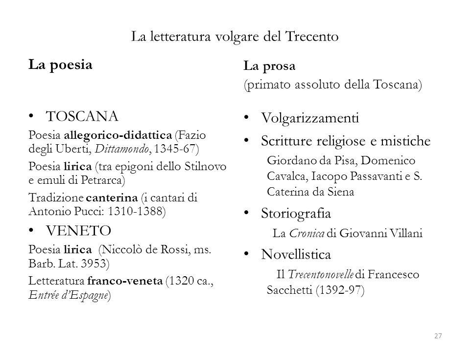 La letteratura volgare del Trecento La poesia TOSCANA Poesia allegorico-didattica (Fazio degli Uberti, Dittamondo, 1345-67) Poesia lirica (tra epigoni