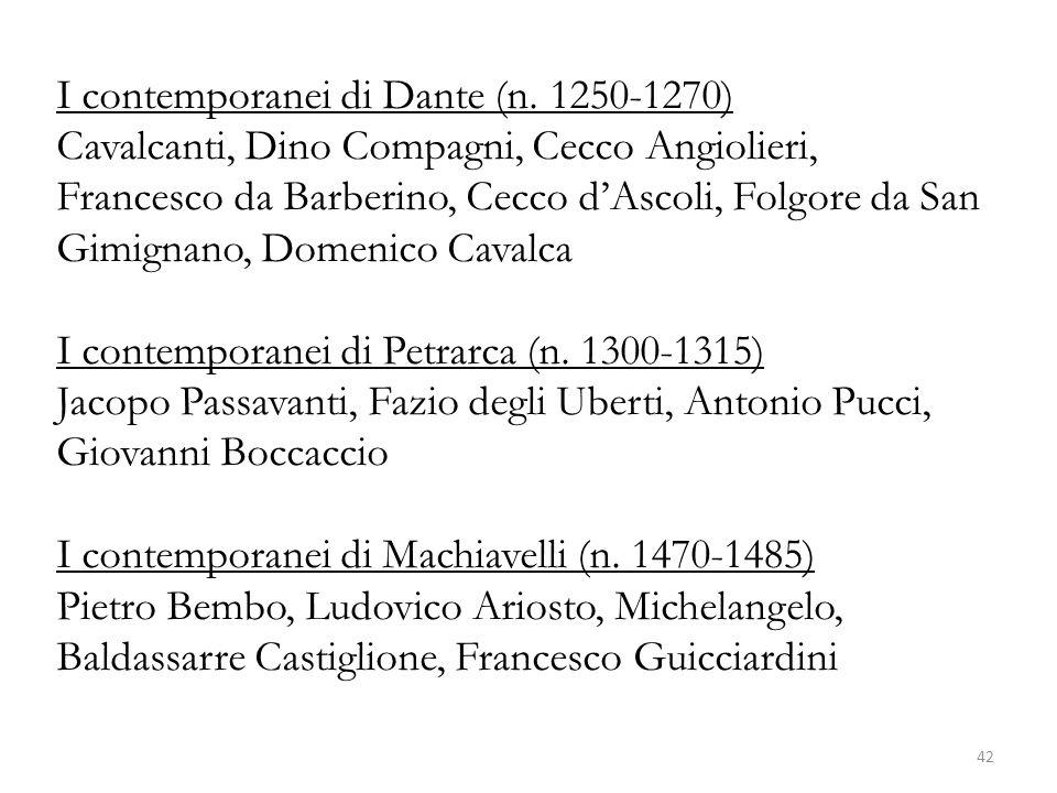 I contemporanei di Dante (n. 1250-1270) Cavalcanti, Dino Compagni, Cecco Angiolieri, Francesco da Barberino, Cecco dAscoli, Folgore da San Gimignano,