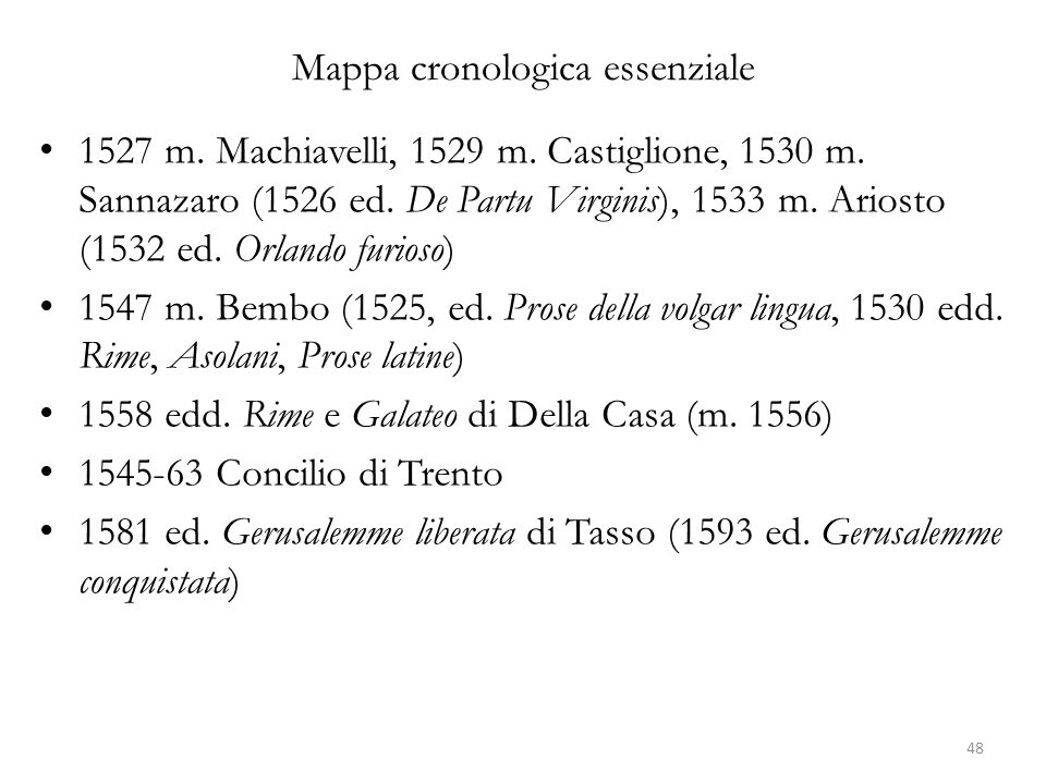 Mappa cronologica essenziale 1527 m. Machiavelli, 1529 m. Castiglione, 1530 m. Sannazaro (1526 ed. De Partu Virginis), 1533 m. Ariosto (1532 ed. Orlan
