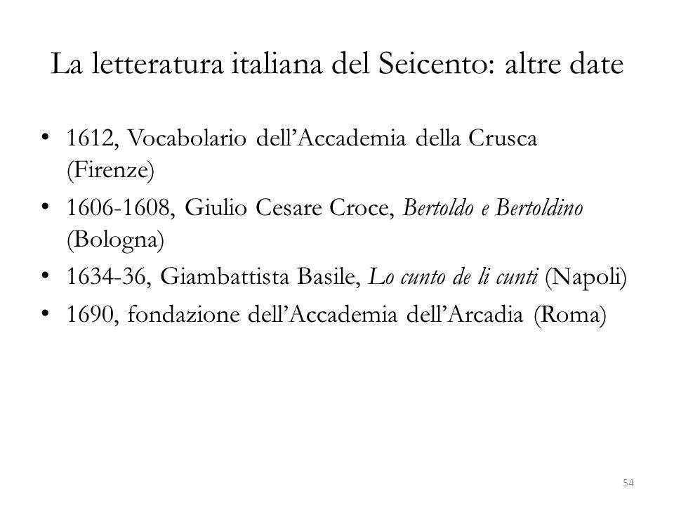 La letteratura italiana del Seicento: altre date 1612, Vocabolario dellAccademia della Crusca (Firenze) 1606-1608, Giulio Cesare Croce, Bertoldo e Ber