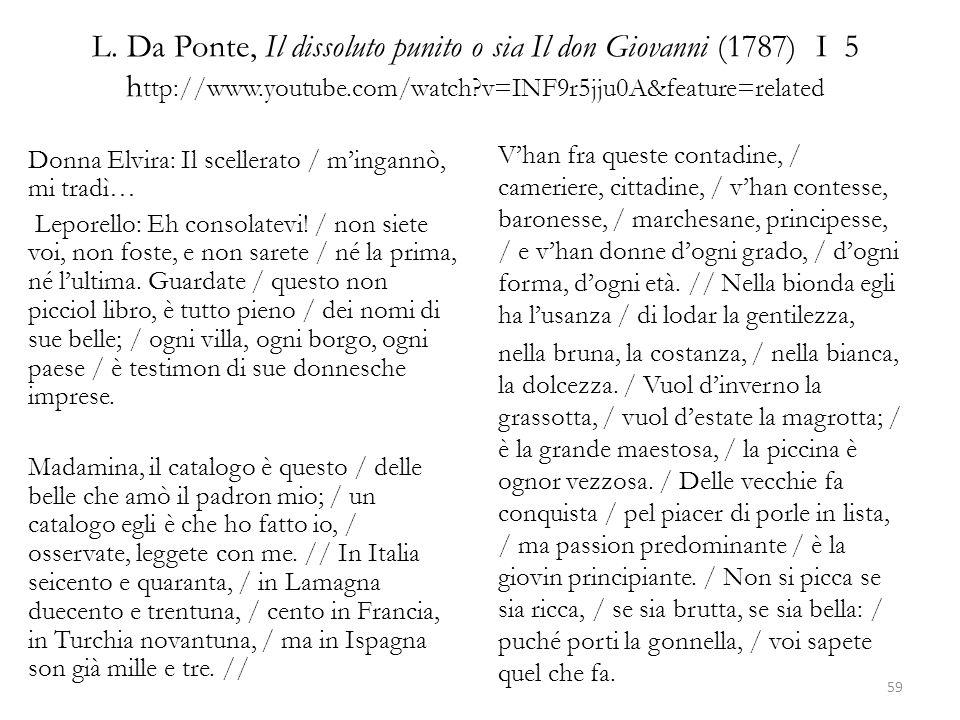 L. Da Ponte, Il dissoluto punito o sia Il don Giovanni (1787) I 5 h ttp://www.youtube.com/watch?v=INF9r5jju0A&feature=related Donna Elvira: Il sceller