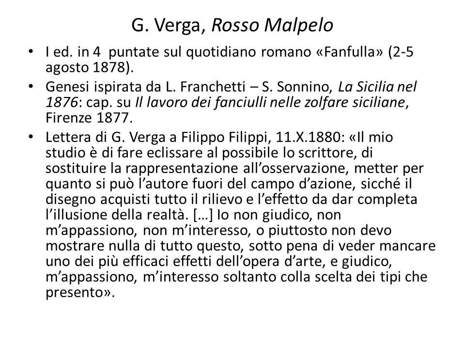 G. Verga, Rosso Malpelo I ed. in 4 puntate sul quotidiano romano «Fanfulla» (2-5 agosto 1878). Genesi ispirata da L. Franchetti – S. Sonnino, La Sicil