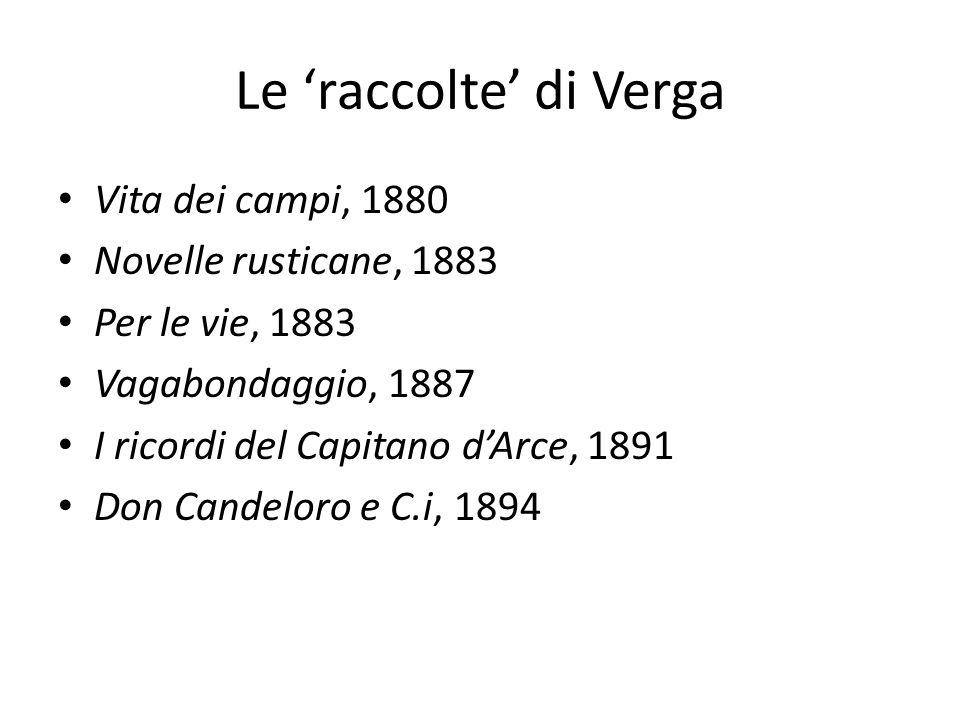 Le raccolte di Verga Vita dei campi, 1880 Novelle rusticane, 1883 Per le vie, 1883 Vagabondaggio, 1887 I ricordi del Capitano dArce, 1891 Don Candelor