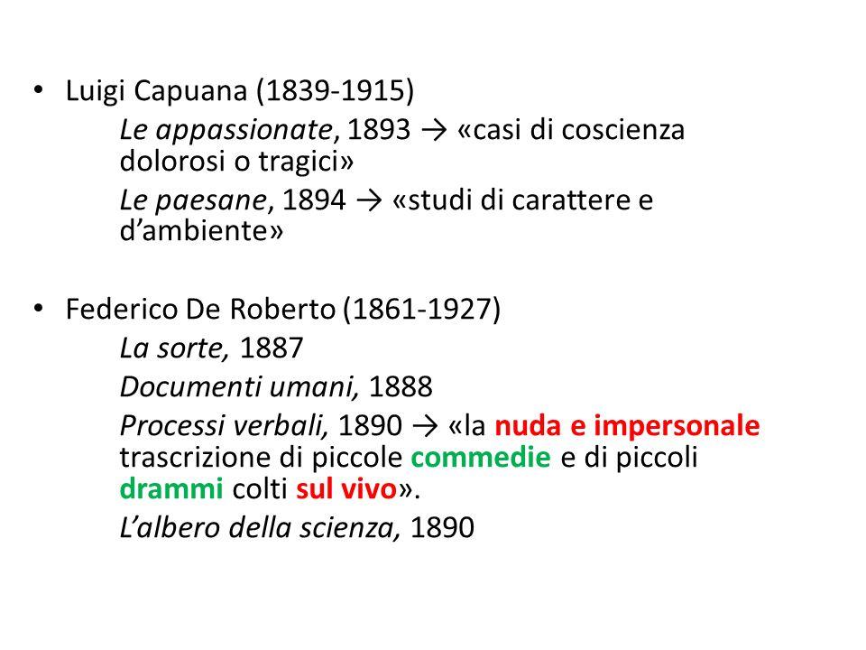Luigi Capuana (1839-1915) Le appassionate, 1893 «casi di coscienza dolorosi o tragici» Le paesane, 1894 «studi di carattere e dambiente» Federico De R