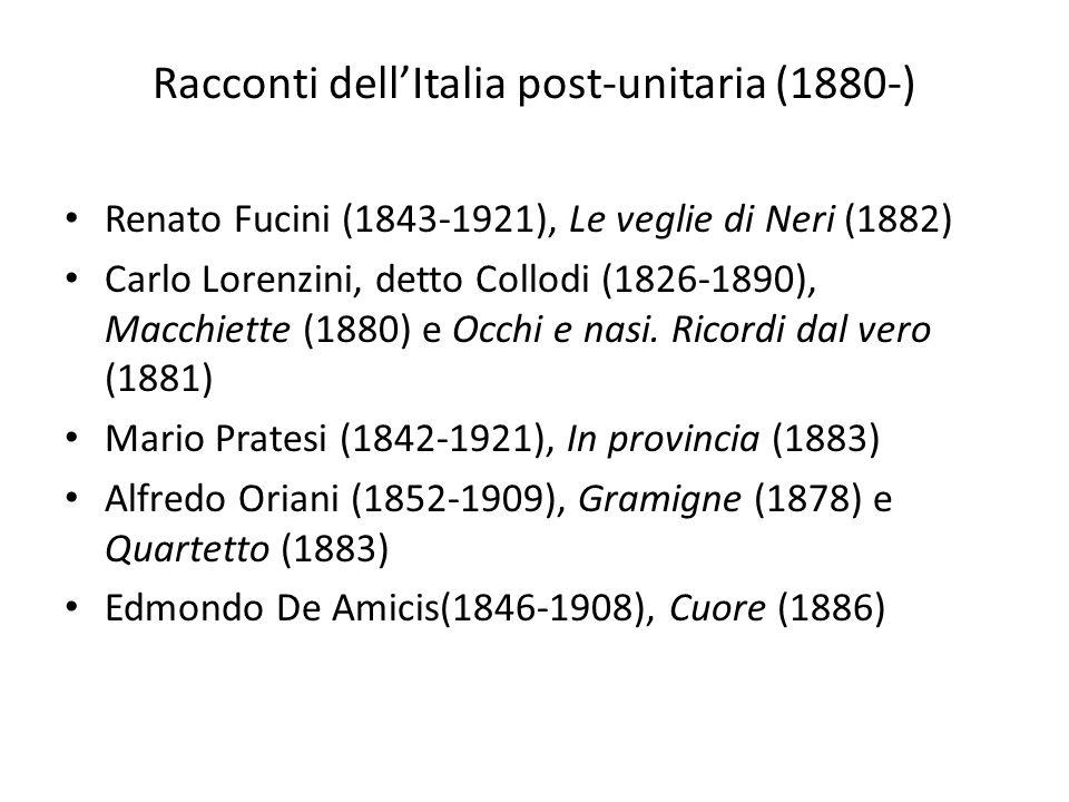 Racconti dellItalia post-unitaria (1880-) Renato Fucini (1843-1921), Le veglie di Neri (1882) Carlo Lorenzini, detto Collodi (1826-1890), Macchiette (