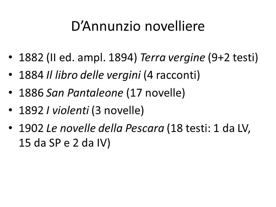 DAnnunzio novelliere 1882 (II ed. ampl. 1894) Terra vergine (9+2 testi) 1884 Il libro delle vergini (4 racconti) 1886 San Pantaleone (17 novelle) 1892