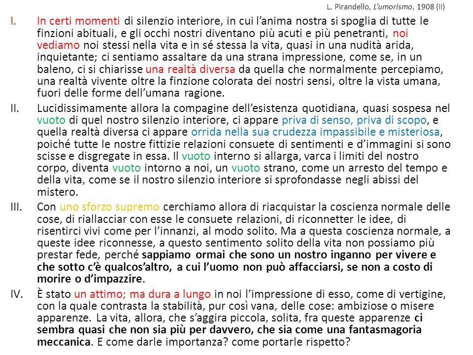 L. Pirandello, Lumorismo, 1908 (II) I.In certi momenti di silenzio interiore, in cui lanima nostra si spoglia di tutte le finzioni abituali, e gli occ