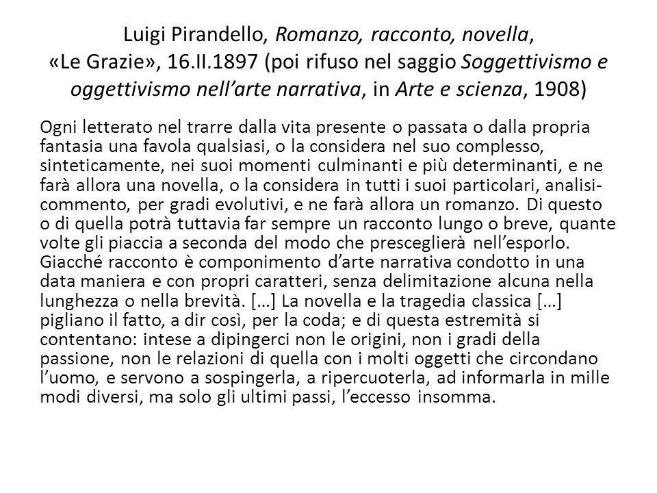 Luigi Pirandello, Romanzo, racconto, novella, «Le Grazie», 16.II.1897 (poi rifuso nel saggio Soggettivismo e oggettivismo nellarte narrativa, in Arte