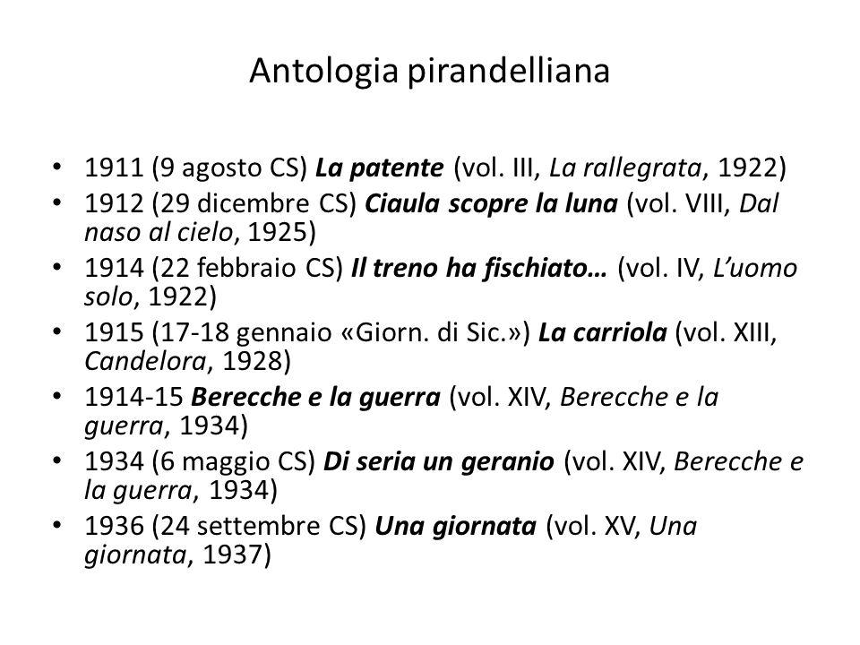 Antologia pirandelliana 1911 (9 agosto CS) La patente (vol. III, La rallegrata, 1922) 1912 (29 dicembre CS) Ciaula scopre la luna (vol. VIII, Dal naso
