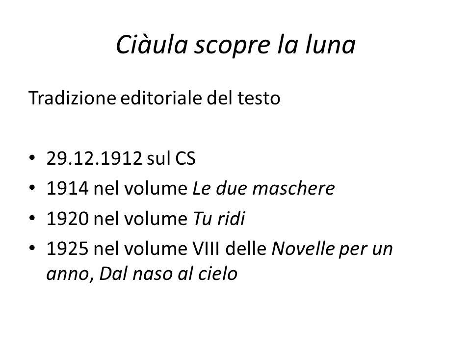 Ciàula scopre la luna Tradizione editoriale del testo 29.12.1912 sul CS 1914 nel volume Le due maschere 1920 nel volume Tu ridi 1925 nel volume VIII d