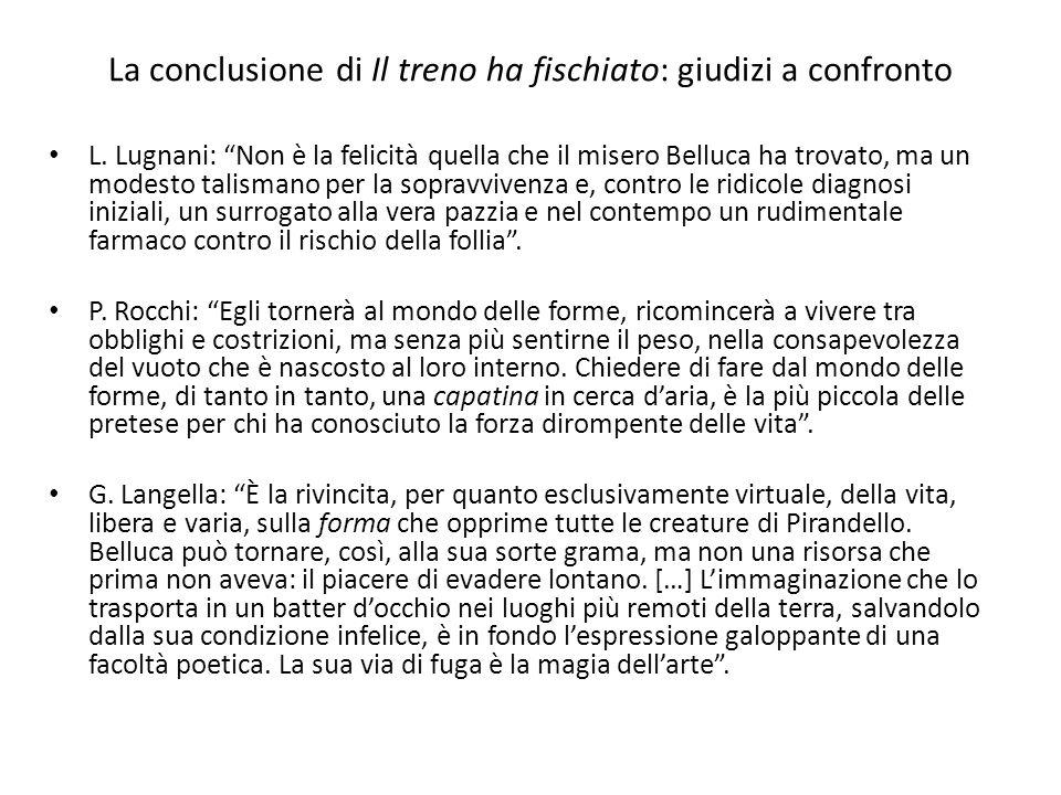 La conclusione di Il treno ha fischiato: giudizi a confronto L. Lugnani: Non è la felicità quella che il misero Belluca ha trovato, ma un modesto tali