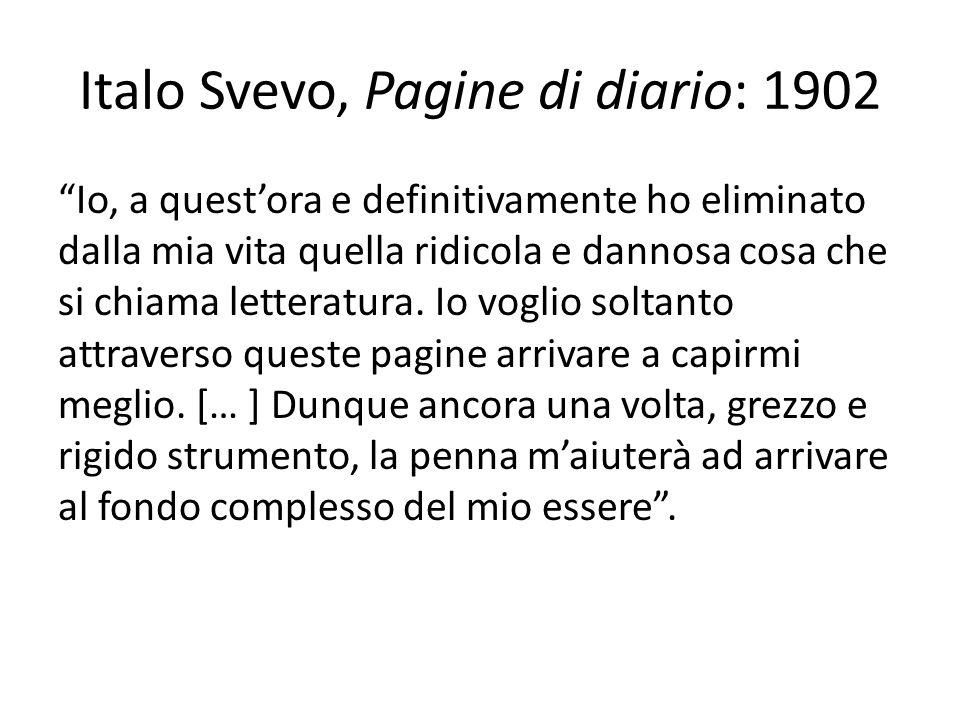 Italo Svevo, Pagine di diario: 1902 Io, a questora e definitivamente ho eliminato dalla mia vita quella ridicola e dannosa cosa che si chiama letterat