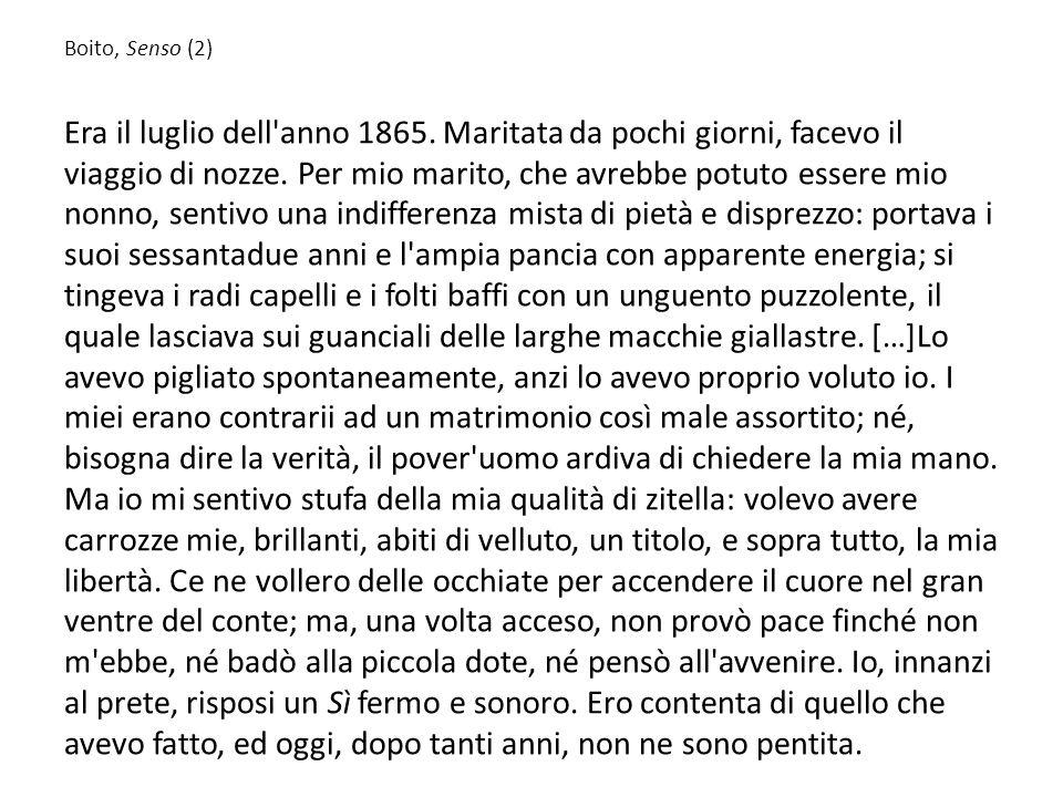 Federigo Tozzi, Lamore Il giorno dopo, mentre facevo qualche passo dinanzi a casa mia, fumando una sigaretta, mi sentii mettere una mano sopra una spalla.