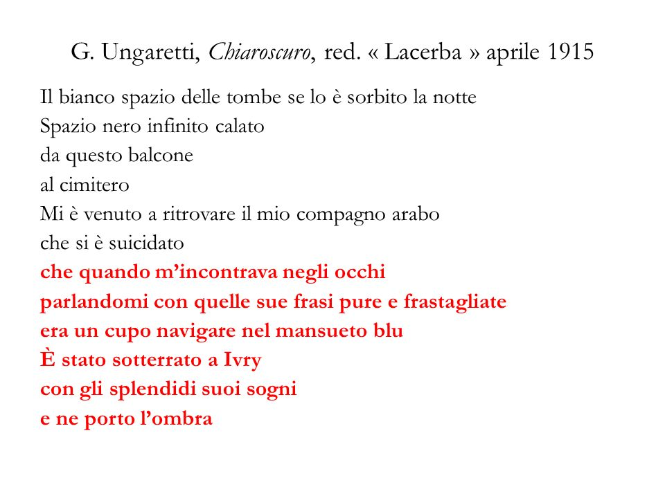 G.Ungaretti, Chiaroscuro, red.