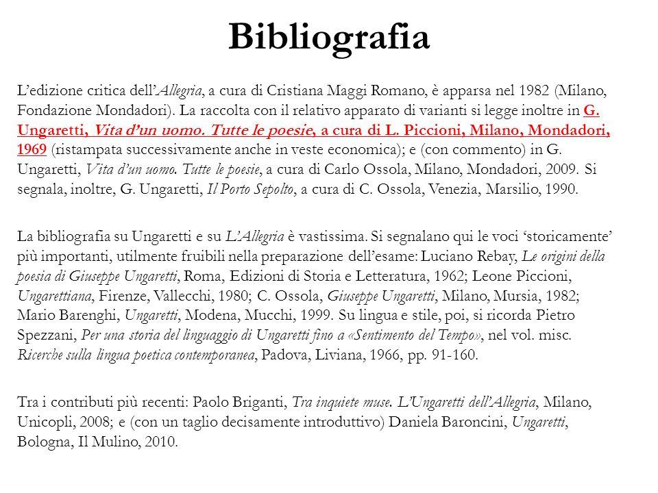 Bibliografia Ledizione critica dellAllegria, a cura di Cristiana Maggi Romano, è apparsa nel 1982 (Milano, Fondazione Mondadori).